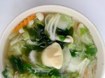 Klar soppa med Bean Curd, blandninggrönsaken, tofuen och havsväxt i den vita bunken på vit bakgrund Vegetarisk mat, sund mat som  Royaltyfria Bilder