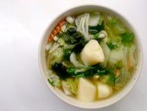 Klar soppa med Bean Curd, blandninggrönsaken, tofuen och havsväxt i den vita bunken på vit bakgrund Vegetarisk mat, sund mat som  Fotografering för Bildbyråer