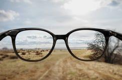 Klar vision till och med exponeringsglas Fotografering för Bildbyråer