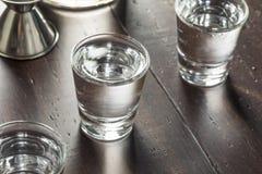 Klara alkoholiserade ryska vodkaskott Royaltyfria Bilder