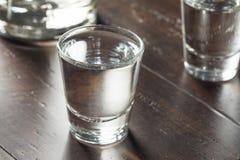 Klara alkoholiserade ryska vodkaskott Royaltyfri Foto
