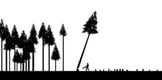 Klara bitande skogar, bruk eller missbruk av naturresurser är ämnet av denna illustration Silhouetted träd, ett som ner klipps vektor illustrationer