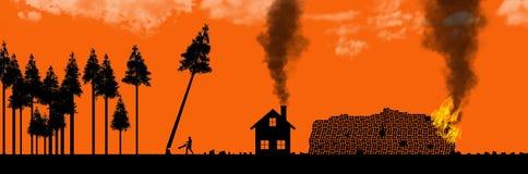 Klara bitande skogar, bruk eller missbruk av naturresurser är ämnet av denna illustration Silhouetted träd, ett som ner klipps stock illustrationer