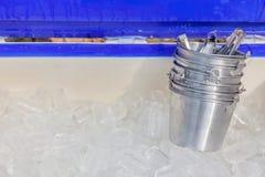 Klara iskuber håller i stor plast- behållare och små metallhinkar Royaltyfri Fotografi