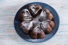 Klara ljusbruna kex, kaka på en grå platta Laga mat som är processaa produkter för bageridesignbild ovanför sikt Arkivbild