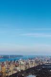 klara skys för cityscape Royaltyfri Fotografi