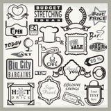 Klara teckendesigner för vinyl, titelrader & etikettSet Arkivfoto