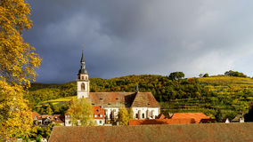 Klare Farben von Herbstweinbergen in Andlau, Elsass Stockbilder