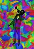 Klare multi Farbzusammenfassungs-Illustration von klassischer Jazz Trumpet Player stock abbildung