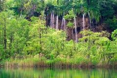 Klare Wasserfalllandschaft Plitvice im Nationalpark Stockbild