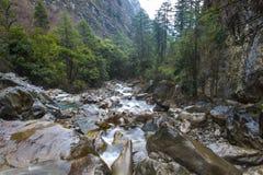 Klarer Fluss, der unten im Tal hetzt Lizenzfreies Stockbild