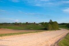 Klarer Frühlingshimmel, Ackerlandfeld mit Birken Lizenzfreie Stockfotografie