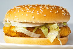 Klarer Huhnburger mit Zwiebelenkäsekopfsalat Stockbild