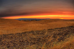 Klarer Sonnenuntergang Stockfoto