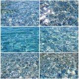 Klarer transparenter Meerwassersatz Stockfoto