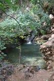 Klarer Wasser-Frühling und Wasserfall Stockfoto