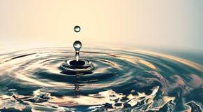 Klarer Wassertropfen mit Kreiswellen stockbilder
