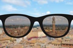 Klares Bild in den Frauensonnenbrillen gegen sonniges und undeutliches landsc Lizenzfreies Stockbild