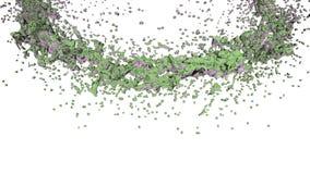 Klares flüssiges grünes Wasser, das einen Kreis auf klarem weißem Hintergrund bildet Alpha Matt-, volles hd, CG, 3d übertragen El stock abbildung
