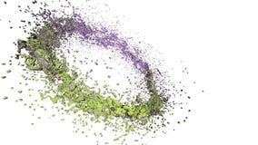 Klares flüssiges grünes Wasser, das einen Kreis auf klarem weißem Hintergrund bildet Alpha Matt-, volles hd, CG, 3d übertragen El lizenzfreie abbildung