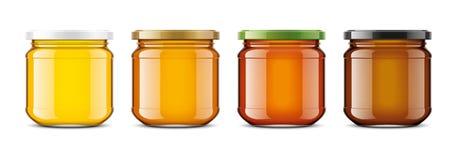 Klares Honey Jar-Modell Entzückende Frau, die das Signal getrennt auf a über weißem Hintergrund bildet Lizenzfreie Abbildung