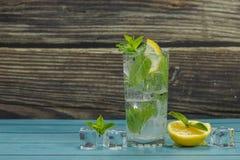Klares Wasser im Glas mit grünen tadellosen Blättern und Eiswürfeln lizenzfreie stockfotografie