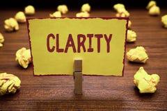 Klarhet för ordhandstiltext Affärsidé för att vara sammanhängande begriplig begriplig klar idéprecision arkivfoto