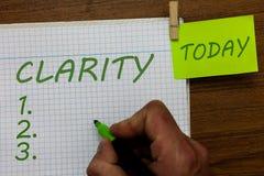 Klarhet för ordhandstiltext Affärsidé för att vara sammanhängande begriplig begriplig klar idéprecisionman arkivfoto
