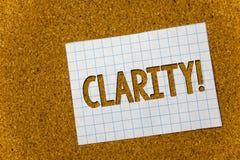 Klarhet för textteckenvisning Begreppsmässig bakgrund för kork för exakthet för stordia för Comprehensibility för renhet för foto royaltyfria bilder