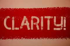 Klarhet för textteckenvisning Röda begreppsmässiga meddelanden för idéer för exakthet för stordia för Comprehensibility för renhe fotografering för bildbyråer