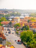 Klarov and Vltava River Bridges. View from Chotek Gardens, Prague, Czech Republic.  Royalty Free Stock Photos