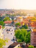 Klarov and Vltava River Bridges. View from Chotek Gardens, Prague, Czech Republic.  Royalty Free Stock Photo