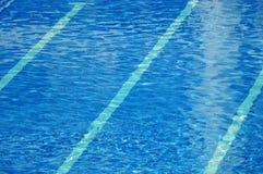 Klart blått vatten skvalpar i en simbassäng royaltyfri foto