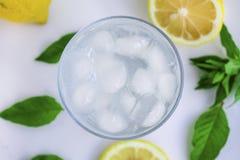 Klart exponeringsglas med kallt vatten och citron och mintkaramell royaltyfri fotografi