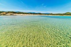 Klart vatten i den Scoglio di Peppino stranden Arkivfoto