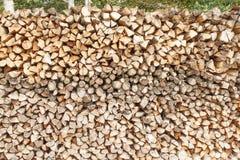Klart vedträ Olika sorter av träjournaler som överst staplas av de Bunt av trä, vedträ, bakgrund Royaltyfri Foto