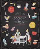 klas target2107_1_ Projektuje szablon z ludźmi przygotowywa posiłki, kuchennych naczynia i urządzenia, Fotografia Royalty Free