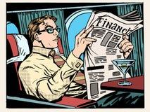 Klasa business płaski biznesmen czyta prasy royalty ilustracja