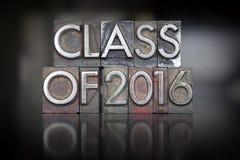 Klasa 2016 Letterpress Fotografia Stock