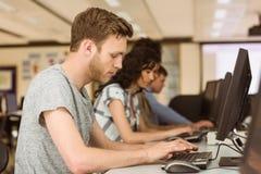 Klasgenoten die in de computerzaal werken stock foto's