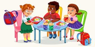 Klasgenoten die lunch in eetkamer hebben stock illustratie