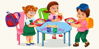 Klasgenoten die lunch in eetkamer hebben vector illustratie
