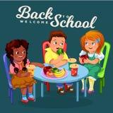 Klasgenoten die lunch in eetkamer hebben royalty-vrije illustratie