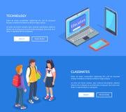 Klasgenoten Tienerstudenten en Moderne Computers royalty-vrije illustratie