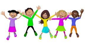 Klasgenoten, vrienden, gelukkige kinderen stock illustratie