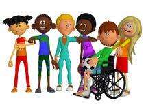 Klasgenoten, vrienden met een gehandicapte jongen stock illustratie