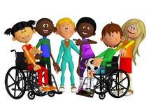 Klasgenoten, vrienden met twee gehandicapte kinderen Stock Foto
