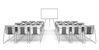 Klaslokaal dat op witte 3D renderimg wordt geïsoleerd als achtergrond Royalty-vrije Stock Afbeelding