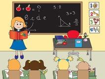 Klaslokaal met leraar royalty-vrije illustratie