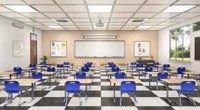 Klaslokaalbinnenland 3D Illustratie Stock Foto
